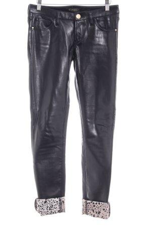 Guess Pantalon en cuir noir-vieux rose motif léopard style festif
