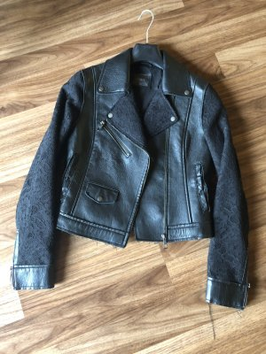 Guess Leather Jacket black-silver-colored leather