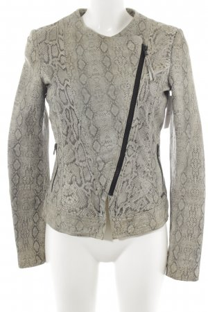Guess Leather Jacket green grey-natural white animal pattern biker look