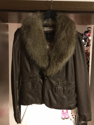 Guess Faux Leather Jacket dark brown