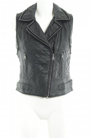 Guess Lederweste schwarz Steppmuster Casual-Look