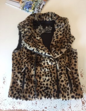 Guess Fur vest black-sand brown