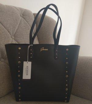 Guess leticia shopper tasche handtasche schwarz gold nieten schultertasche