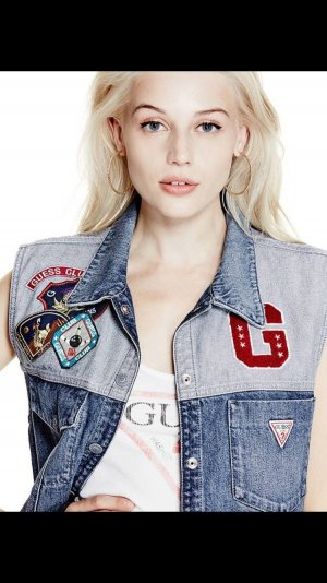Guess long line denim vest