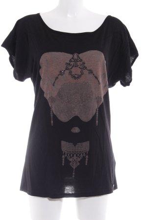 Guess Longshirt schwarz-hellbraun Motivdruck Casual-Look