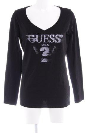 Guess Camisa larga negro-color plata letras impresas Logotipo impreso