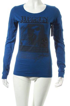 Guess Longsleeve blau-schwarz Motivdruck Casual-Look