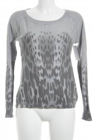 Guess Manga larga gris claro-gris estampado de leopardo look casual
