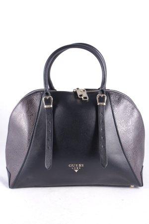 Guess Luxe Henkeltasche schwarz-dunkelbraun florales Muster Elegant
