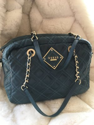 GUESS Luxe Ledertasche in Blau / Türkis - TOP ZUSTAND !