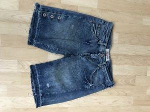 Guess Premium Pantalón corto de tela vaquera azul acero-verde neón