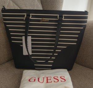 Guess Madeleine Tote Shopper neu schwarz weiß tasche handtasche schulzertasche