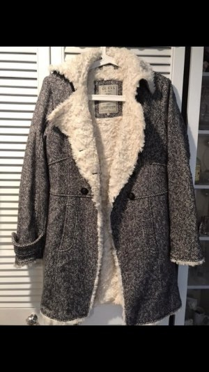 Guess Fake Fur Coat dark grey-natural white