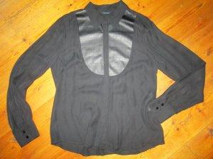 Guess Marciano Bluse Seidenbluse mit Reptilleder-Appliktion schwarz Gr. XL neu