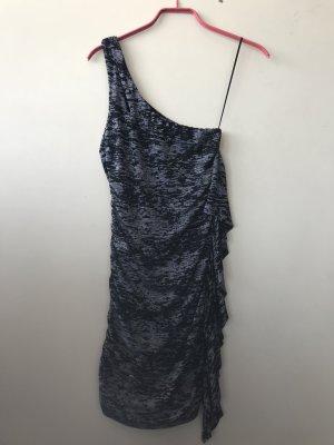 Guess Minikleid figurbetont mit Rüschen grau und schwarz gemustert
