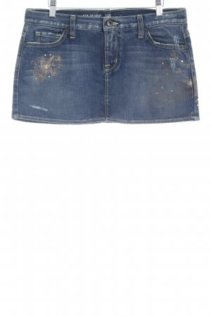 Guess Miniskirt dark blue themed print distressed style