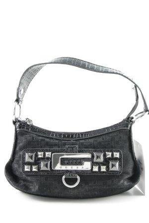 Guess Minitasche schwarz-silberfarben Monogram-Muster Glanz-Optik