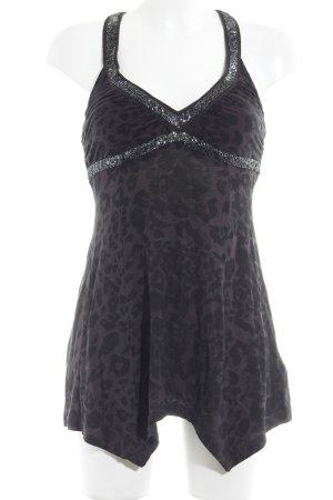 Guess Top senza maniche grigio scuro-nero Stampa leopardata stile casual