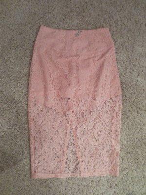 Guess, NEU Spitzenrock rosa, Gr. 36, mit eingenähter Panty, übers Knie