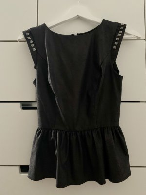 Guess Top peplum negro-gris antracita