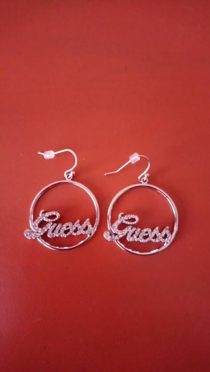 Guess Pendientes tipo aro color plata metal