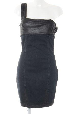 Guess Vestido de un hombro azul oscuro-negro look casual