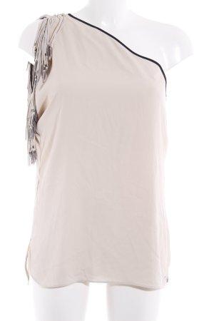 Guess Camisa de un solo hombro crema-negro estilo extravagante