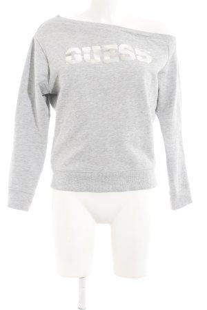 Guess Oversized Pullover hellgrau-silberfarben Schriftzug gedruckt Casual-Look