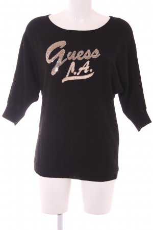 Guess Oversized Pullover schwarz-goldfarben grafisches Muster Casual-Look