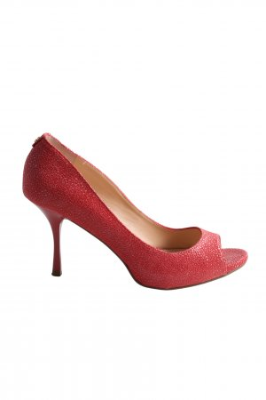 Guess Peep Toe Pumps red allover print business style