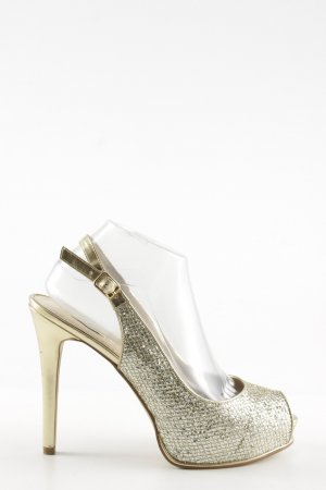 Guess Peep Toe Pumps gold-colored quilting pattern elegant