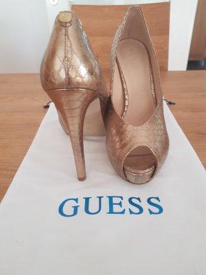 Guess Peeptoes, Gold Schlangenleder-Optik, Gr. 40