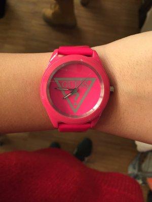 Guess pink Armband Uhr Echt Leder lack