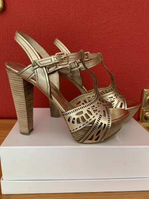 Guess Platform High-Heeled Sandal gold-colored leather