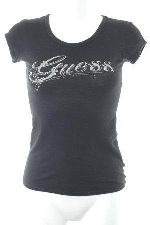 Guess Camiseta estampada negro-color plata letras impresas look casual