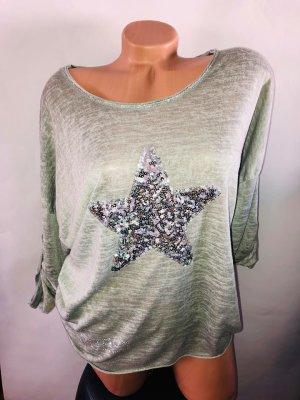 Guess Pullover Tunika in gr 40 Farbe Khaki Strass Stern