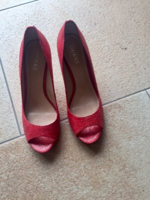 GUESS Pumps, korall rot, Größe 39, Peeptoes