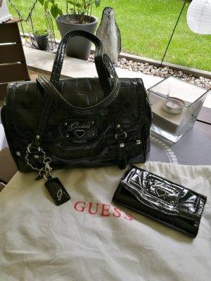 GUESS Retro Croc Faux Patent Black Bag + Wallet