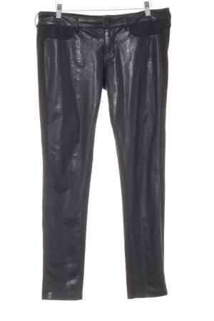 Guess Pantalón de tubo negro estampado de animales estilo extravagante