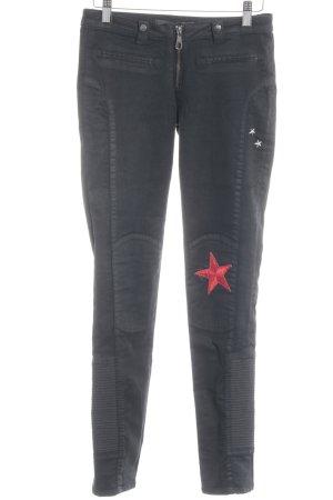 Guess Pantalón de tubo negro-rojo Patrón de estrellas Apariencia de Patchwork