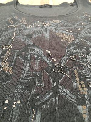 Guess Rundhalspullover Grau Perlen Pailletten 36