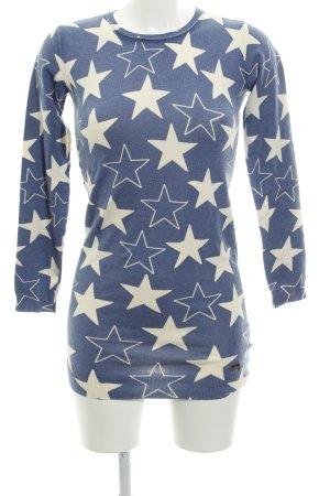 Guess Jersey de cuello redondo azul aciano-blanco puro Patrón de estrellas