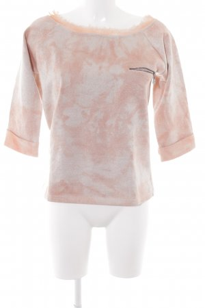 Guess Rundhalspullover lachs-hellbeige Farbtupfermuster Casual-Look
