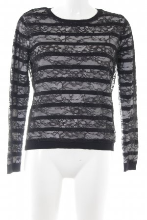 Guess Crewneck Sweater black-white striped pattern casual look