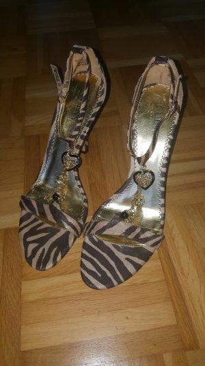 guess sandalen gold braun
