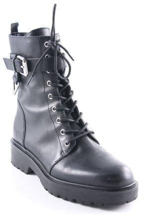 Guess Schnür-Stiefeletten schwarz-silberfarben Casual-Look