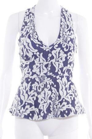 Guess Schößchentop blau-weiß florales Muster Elegant
