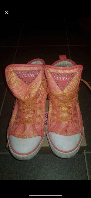 Guess Sneaker alta giallo-arancio neon