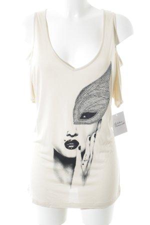 Guess schulterfreies Top beige-creme Motivdruck Street-Fashion-Look