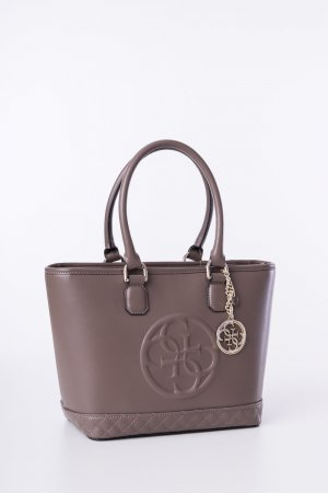 GUESS - Schultertasche Amy Small Taupe